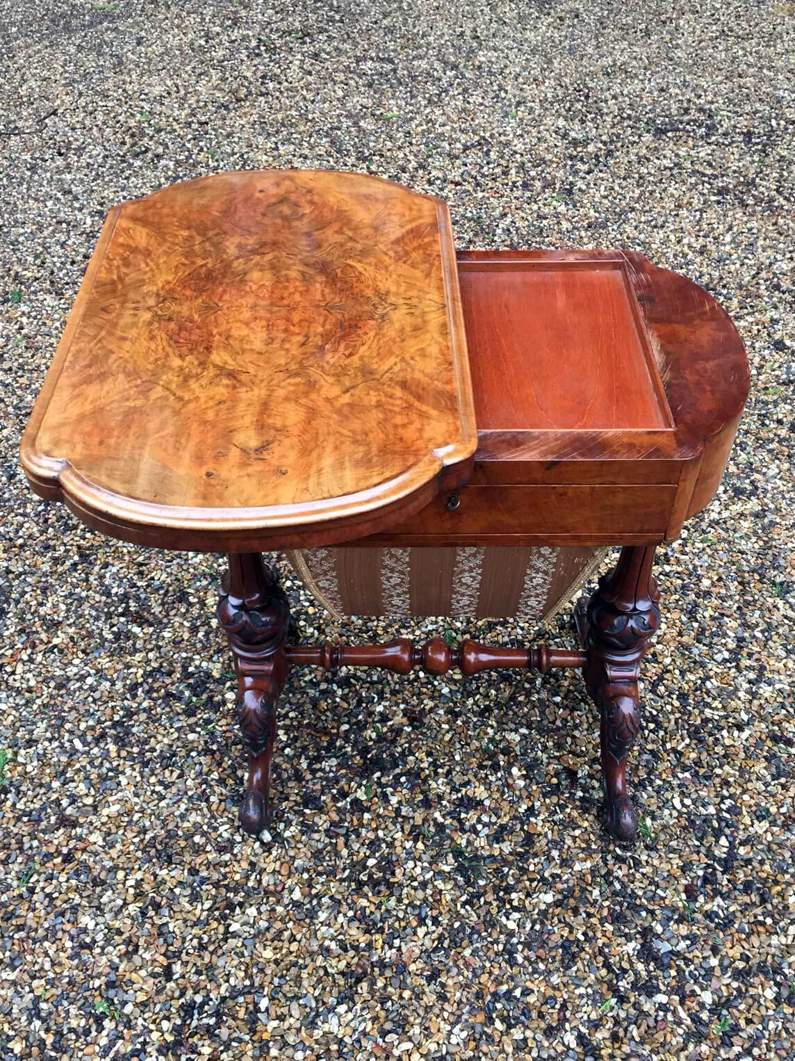 Victorian Burr Walnut Work / Games Table. Opening Up The Top Reveals A  Tulipwood And Boxwood Chess/draughts Board, A Boxwood, Ebony And Tulipwood  Backgammon ...